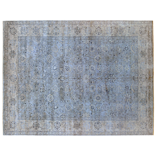 Grey and Beige Floral Area Rug