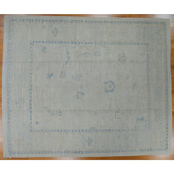 Beige and Blue Oushak Design Rug