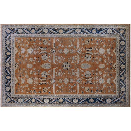 Rust and Blue Pakistani Rug