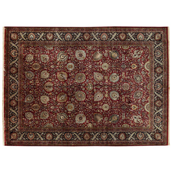 Traditional Kashan Style Rug in Red and Blue