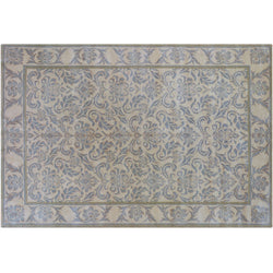 Blue Floral and Natural Rug