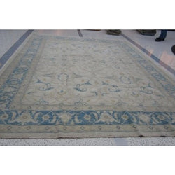 Blue and Ivory Afghan Rug