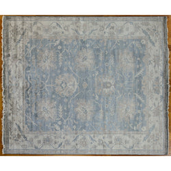 Blue and Beige Floral Area Rug