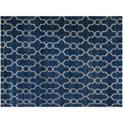 Blue and Ivory Interlock Rug
