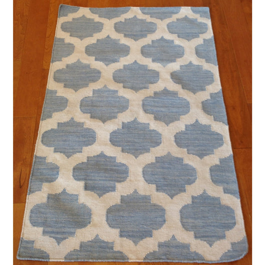 Pale Blue and Cream Kilim
