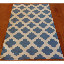 Blue and Cream Flat Weave Rug