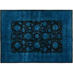 Blue and Black Silky Wool Rug