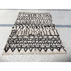 Vintage Black and White Moroccan Rug