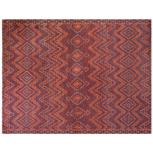 Red and Blue Folk Art Style Area Rug