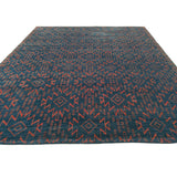Geometric Navy Blue and Red Rug