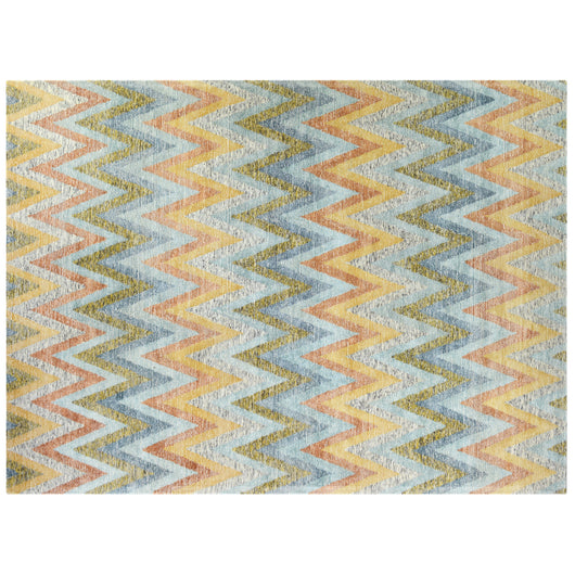 Chevron Pattern Tweed Collection Rug in Natural Gold
