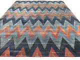 Chevron Pattern Tweed Collection Rug in Indigo