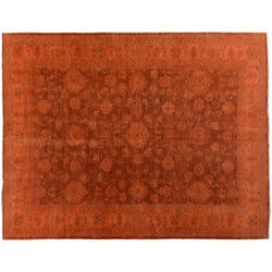 Red Orange Silky Wool Rug