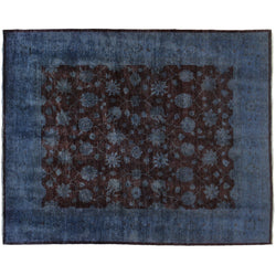 Blue and Brown Silky Wool Rug