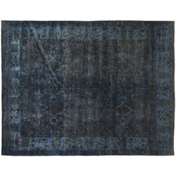 Dark Blue Silky Wool Rug