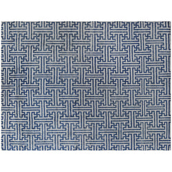 Blue and Ivory Flanders Weave Design Rug
