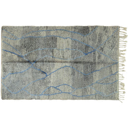 Moroccan Rug with Blue Accents