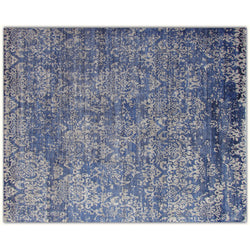 Blue Damask Design Rug