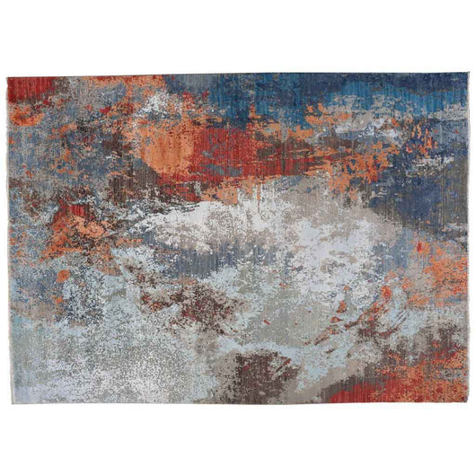 Abstract Rust and Silver Rug