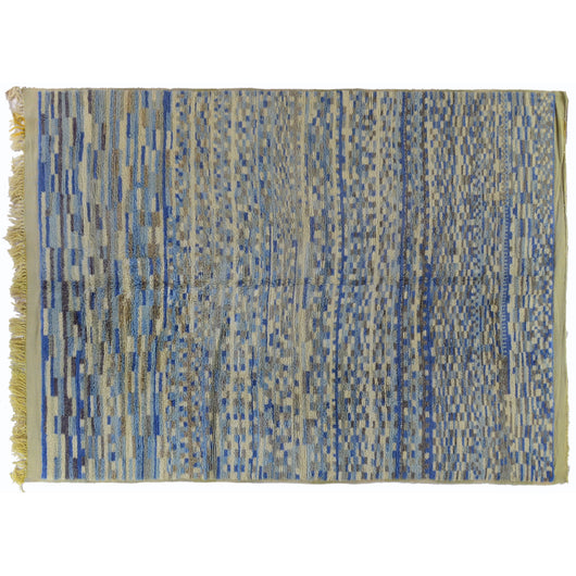 Blue Squares Moroccan Rug