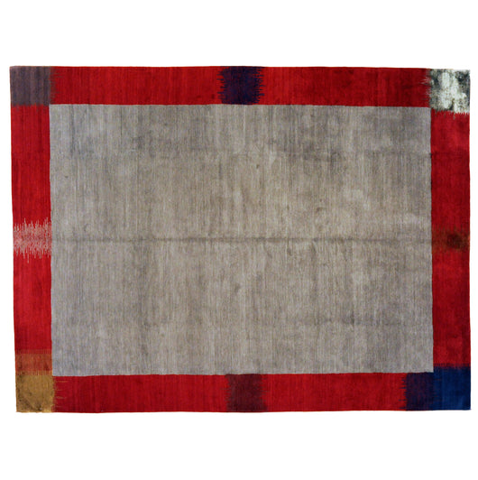 Grey Tibetan Area Rug with Red Border