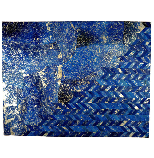 Metallic Silver and Blue Hide Rug