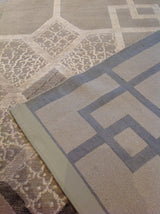 Art Deco Style Area Rug in Black, Taupe and Silver