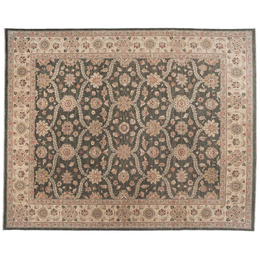 Traditional Pakistani Rug with Interlocking Floral Design