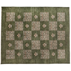 Traditional Green Floral Patchwork Rug