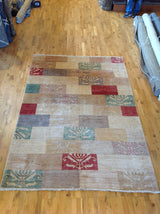 Transitional Pakistani Multi-Color Blocks Rug