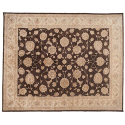 Traditional Pakistani Brown Floral Area Rug