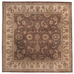 Traditional Pakistani Square Brown Floral Rug