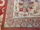 Red and Beige Traditional Pakistani Wool Rug