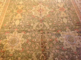 Traditional Pakistani Green and Beige Floral Rug