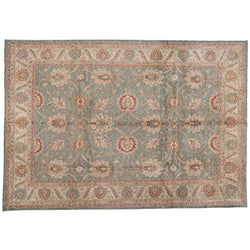 Traditional Pakistani Teal and Beige Rug