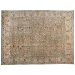 Beige Floral Motif Rug with Red and Teal