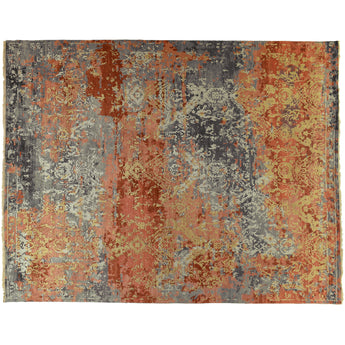 Red and Gold Transitional Indian Area Rug