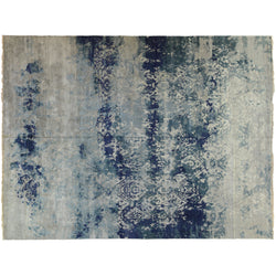 Blue and Silver Transitional Wool Area Rug