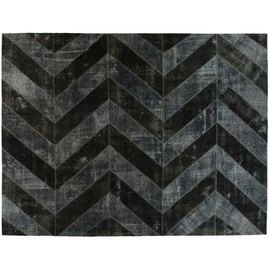 Black and Silver Chevron Overdyed Area Rug