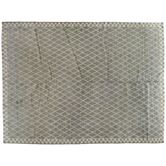 Diamonds and Checkerboard Grey Moroccan Design Rug