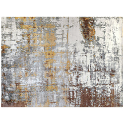 Contemporary Abstract Rug in Silver, Gold and Ivory