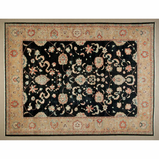 Beige and Black Traditional Wool Area Rug