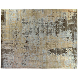 Gray and Tan Abstract Wool Area Rug
