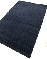 Blue Wool Loop and Cut Graph Check Area Rug