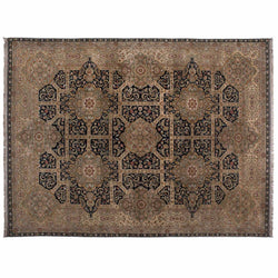 Beige and Black Agra Design Wool Area Rug