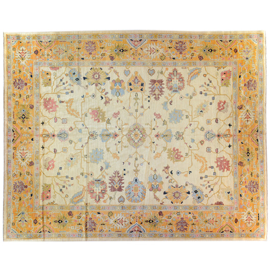 Contemporary Oushak Style Area Rug in Gold and Ivory