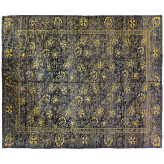 Purple Floral Stencil Design Wool and Silk Area Rug