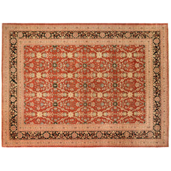 Red Pakistani Traditional Style Wool Area Rug