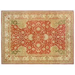 Red Traditional Style Indian Wool Area Rug