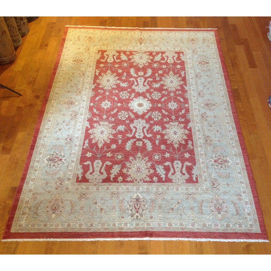 Ivory and Red Floral Print Rug